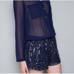 Zara Trafaluc Blue Sequin Romper.  Size XS